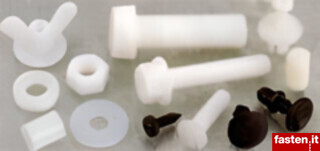 Plastic screws, nuts, washers, rivets and spacers