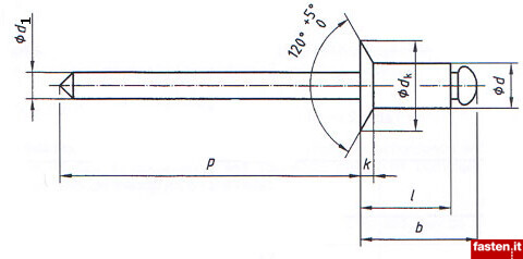 Open end blind rivets with break pull mandrel and countersunk head -