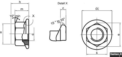 Self-locking hex flange nuts, all-metal construction