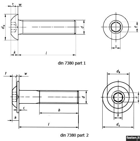 Hexagon socket button head screws without flange or with flange